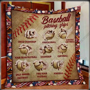 Baseball Pitching Grips Quilt Blanket