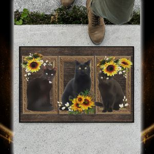 Black cat sunflower doormat