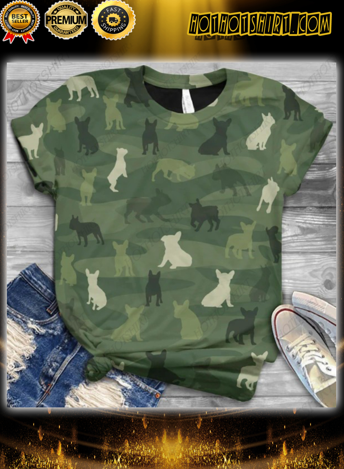 Green French Bulldog Camo Classic T-shirt