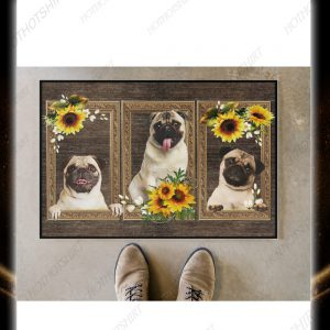 Pug sunflower doormat