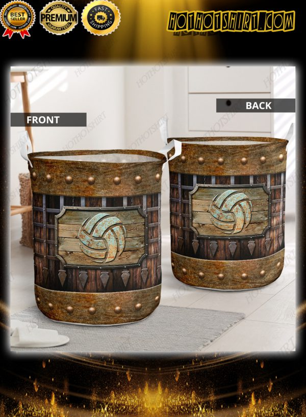Volleyball sport grunge metal style laundry basket