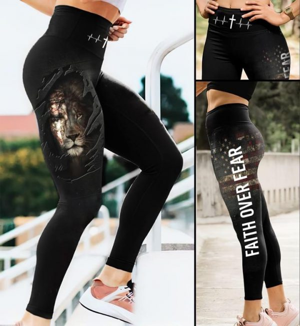 Faith over fear Jesus and lion The perfect combination Leggings