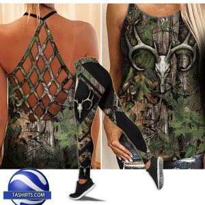 Hunting girl camo criss-cross open back camisole tank top