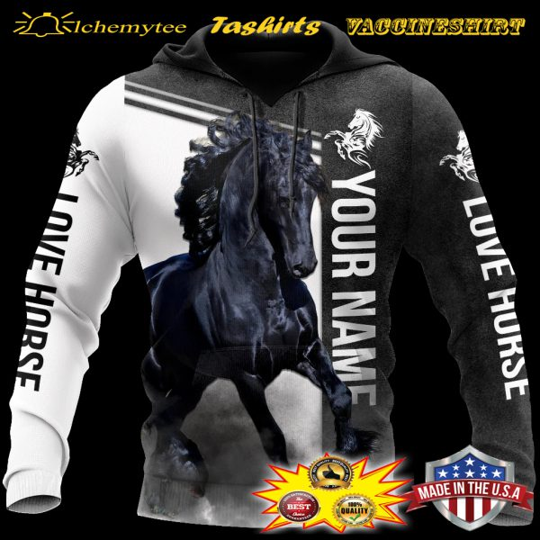 Personalized Friesian Horse 3D all over printed hoodie
