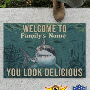 Personalized Shark Welcome You Look Delicious Doormat