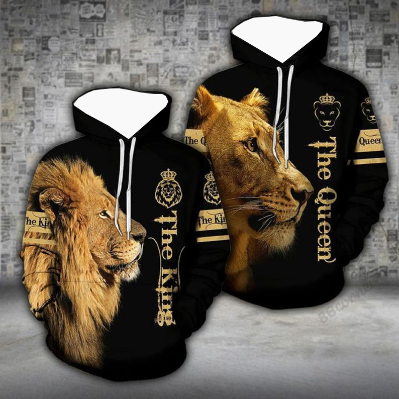 Lion the king the queen couple 3d hoodie