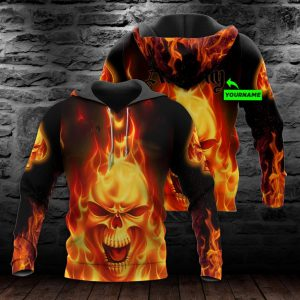Personalized All Over Printed Hoodie 3D Fire Skull