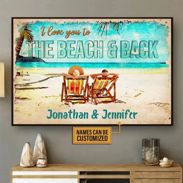 Personalized I love you to the beach and back poster