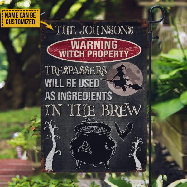 Personalized Warning Witch Property Custom Flag
