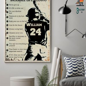 Personalized baseball life lessons custom name and number poster