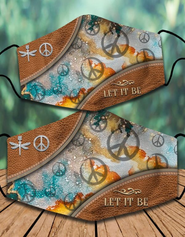 Psychedelic peace hippie let it be face mask
