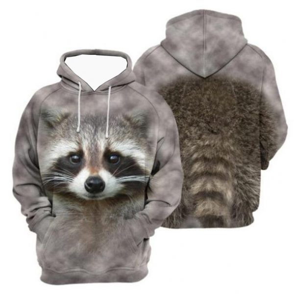 Raccoon face 3d all over print hoodie
