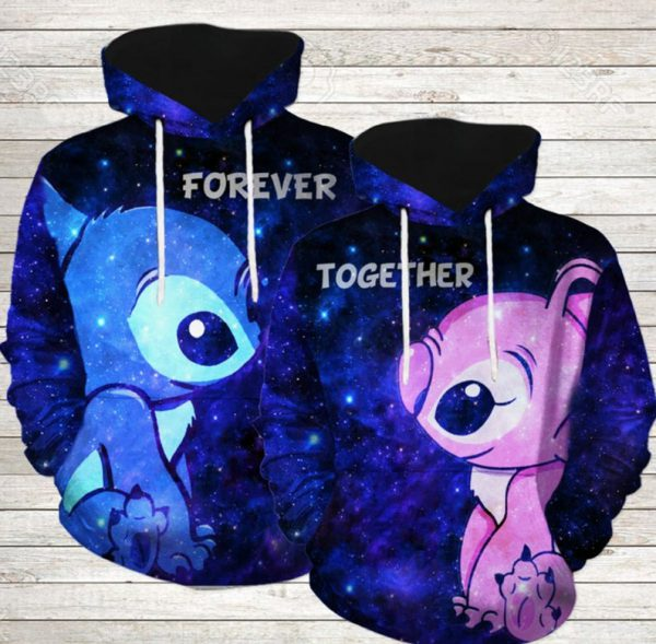 Stitch And Angel Forever Together 3D Couple Hoodie