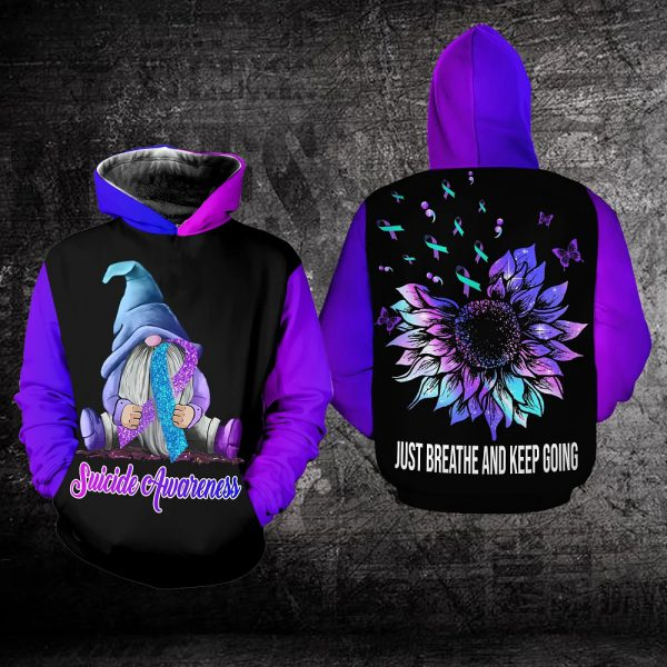 Suicide Awareness Just Breathe And Keep Going All Over Print Hoodie