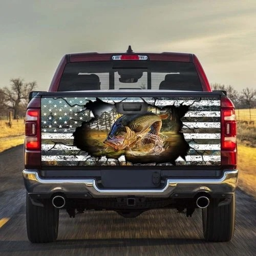 Fishing American Crack Truck Tailgate Vinyl Graphic Decal Sticker Wrap