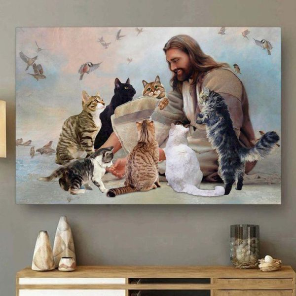 God surrounded by Cat Angels Poster And Canvas Print