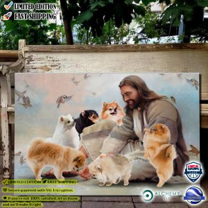God surrounded by Pomeranian angels poster