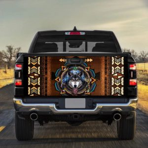 Native American Wolf Truck Tailgate Vinyl Graphic Decal Sticker Wrap