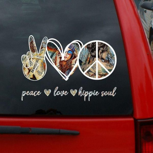 Peace love hippie soul decal for car