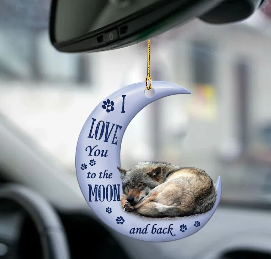 Wolf I love you to the moon and back ornament