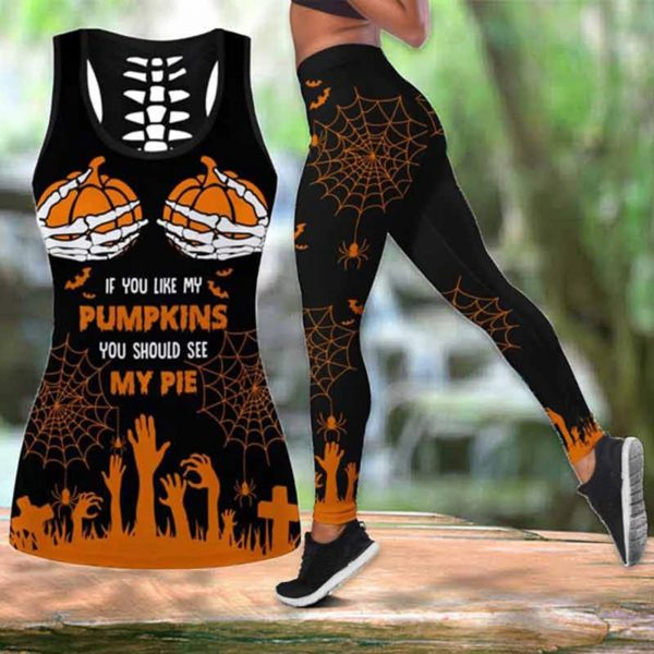 If you like my pumpkins you should see my pie halloween legging and hollow tank top