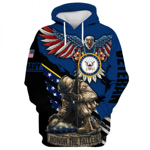 Navy veteran honor the fallen 3D all over print hoodie and shirt