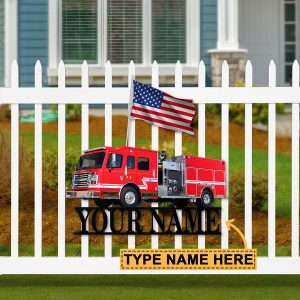 Firefighter car personalized metal sign