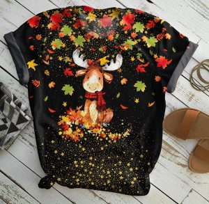 Moose autumn all over print t-shirt
