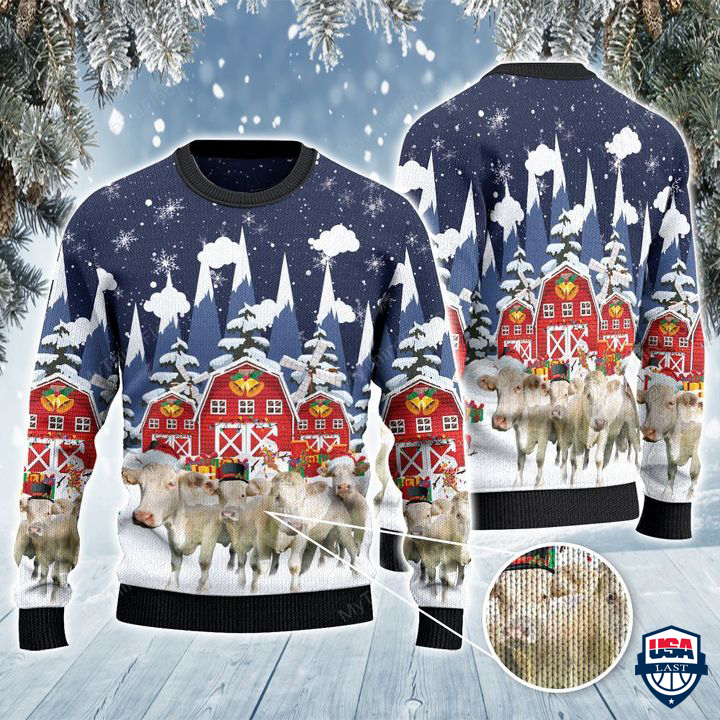 Charolais Cattle Lovers Snow Farm All Over Print Ugly Sweater