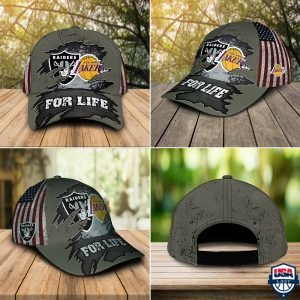 Las Vegas Raiders And Los Angeles Lakers For Life Cap