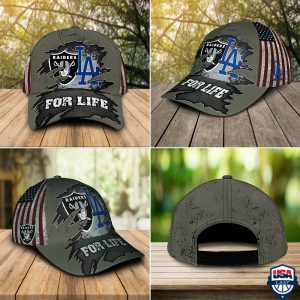 Las Vegas Raiders And Los Angeles Dodgers For Life Cap