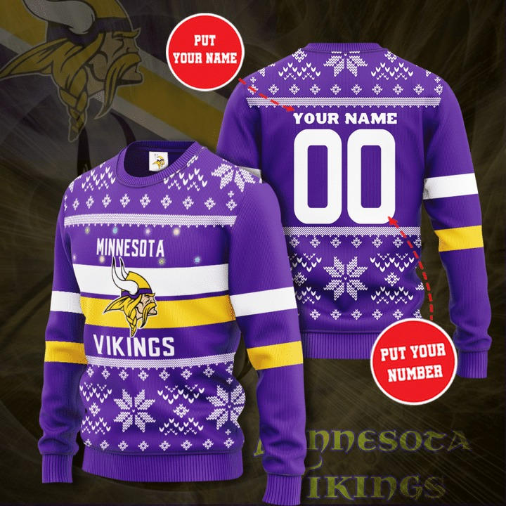 Personalized Minnesota Vikings Custom Name And Number Ugly Christmas Sweater