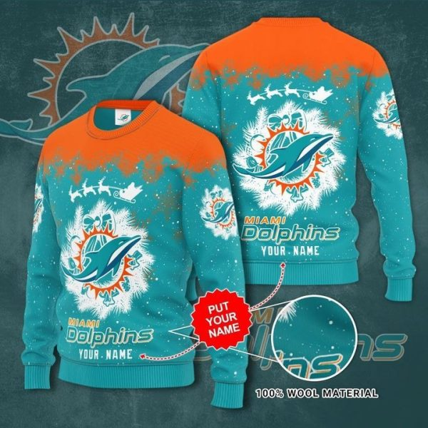 Personalized Miami Dolphins Custom Name Ugly Christmas Sweater