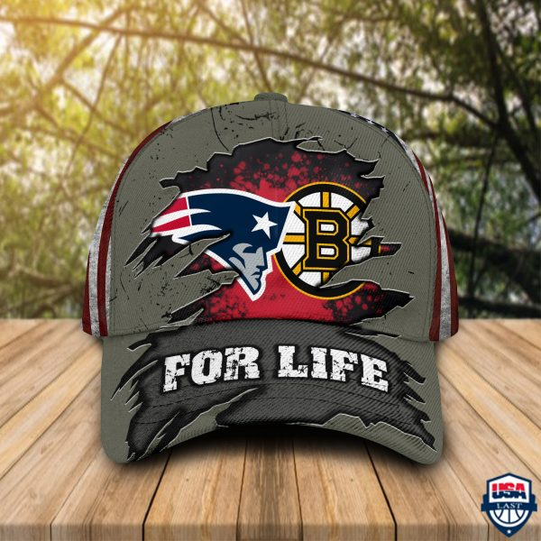 New England Patriots And Boston Bruins For Life Cap