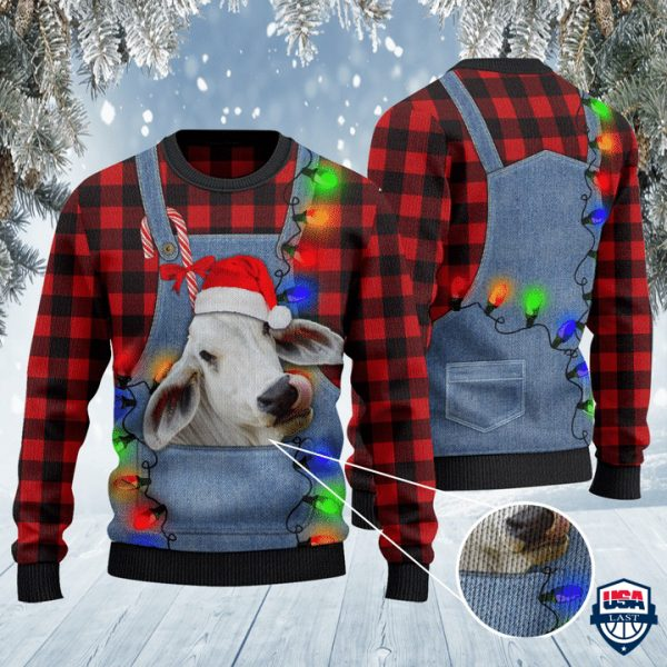 Brahman Cattle Lovers Red Plaid Shirt And Denim Bib Overalls All Over Print Sweater