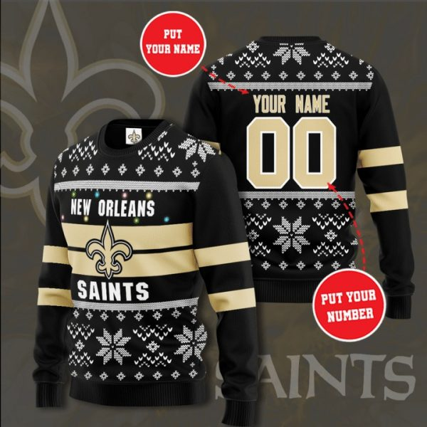 Personalized New Orleans Saints Custom Name And Number Ugly Christmas Sweater