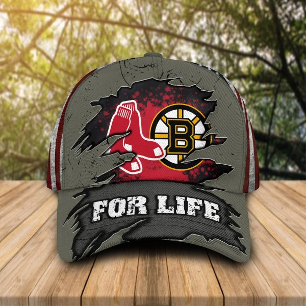Boston Red Sox And Boston Bruins For Life Caps & Hats