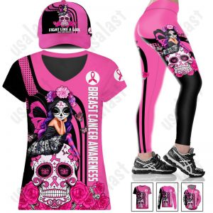 Breast-Cancer-Awareness-Fight-Like-A-Girl-Combo-Shirt-And-Cap-1