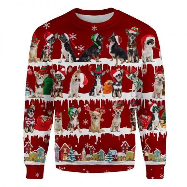 Chihuahua Snow Christmas 3D Ugly Sweater