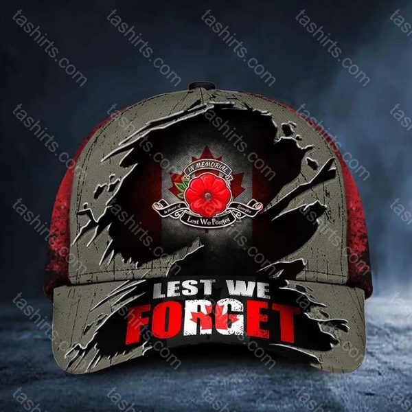 Poppy Canada Lest We Forget Remembrance Day Hat Cap